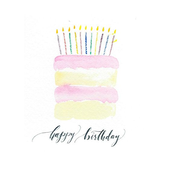 Watercolor Birthday Cake - Original Watercolor Greeting Card - Ink Art - Cake Art - Archival Quality Fine Art