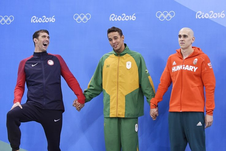 The moment of victory - Michael Phelps (USA), Chad Le Clos (RSA) and László Cseh (HUN) after the final of men's 100 m butterfly - Olympic Games, RIo de Janeiro