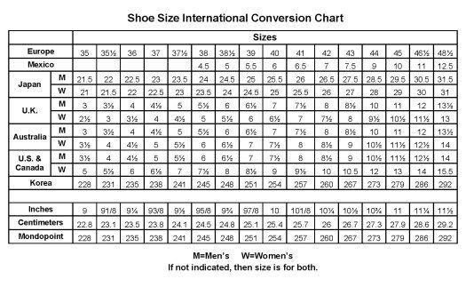 Baby Shoe Size Chart Us European