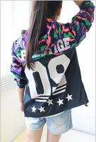 Camuflagem leopardo para mulheres Outwears jaquetas colégio Varsity casaco corta-vento