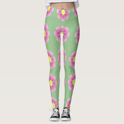 Pink daisy pattern leggings - spring gifts style season unique special cyo