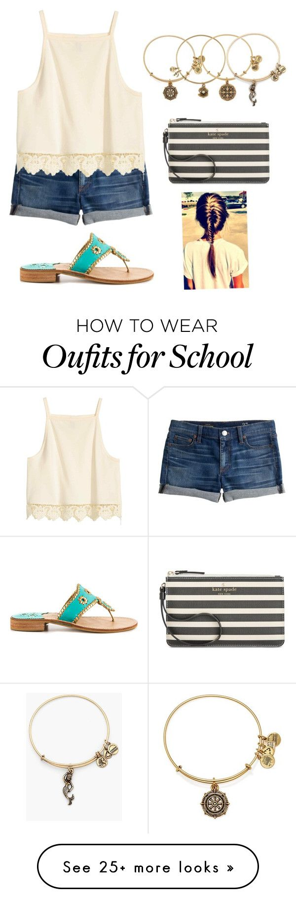 """""""Going to school! Have a god day everyone"""" by pandapeeper on Polyvore featuring J.Crew, Alex and Ani, Jack Rogers and Kate Spade"""