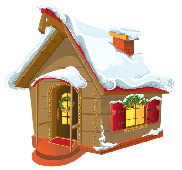 Christmas Winter House PNG Clipart Image