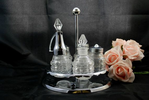 Shakers and Cruet Set in Glass on Stainless by Dupasseaupresent