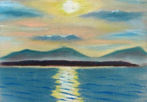 Sunrise over Stromness, original seascape pastel drawing on Etsy, £60.00