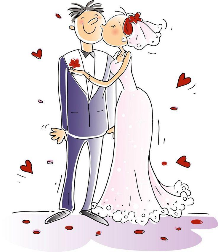 Смешные рисованные картинки жениха и невесты
