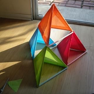 Easy kitemaking how to build a pyramid kite crafts for for Tetrahedron kite template