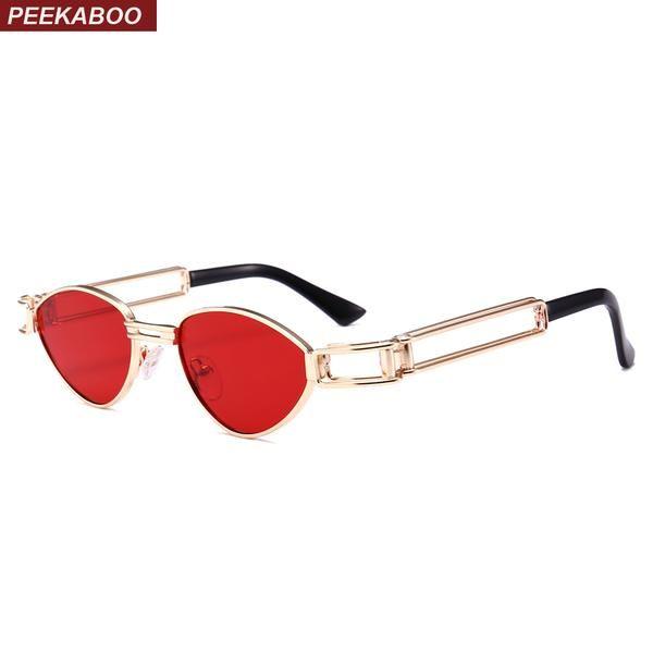 #DealOfTheDay #FASHION #NEW Peekaboo small triangle sunglasses women cat eye gold metal frame yellow green red punk retro sun glasses male…