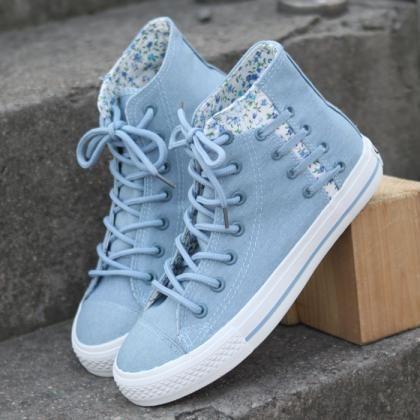 Floral denim canvas lace shoes