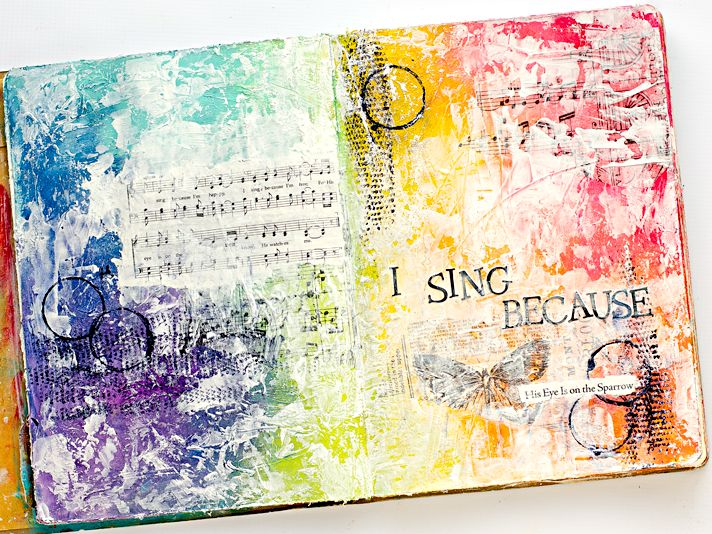 His Eye Is On The Sparrow - Mixed Collage Media Art Worship Art Journaling Page   Donna Downey's Inspiration Wednesday   She Reads Truth Hymns II Devotional