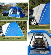 Prius tent, attaches to the back of your hatchback so you can have sleeping space in your car... awesome idea.