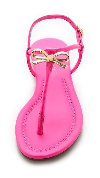 Love these hot pink and gold Kate Spade bow sandals!