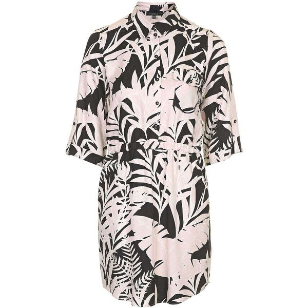 TOPSHOP PETITE Shadow Leaf Print Shirt Dress (73 CAD) ❤ liked on Polyvore featuring dresses, black, petite, fitted dresses, t-shirt dresses, viscose dresses, petite dresses and long shirt dress