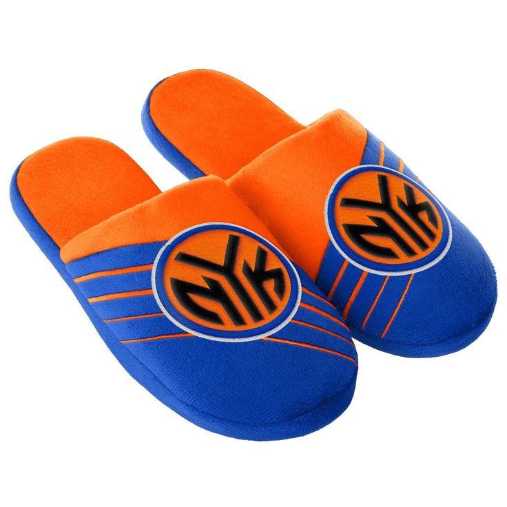 NBA Men's New York Knicks Blue/Orange Slippers, Medium
