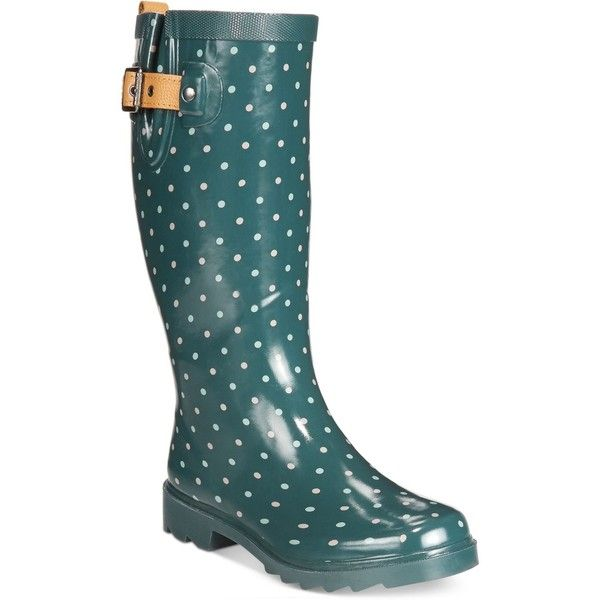 Chooka Classic Dot Rain Boots ($70) ❤ liked on Polyvore featuring shoes, boots, deep juniper, print boots, wellington boots, chooka shoes, polka dot boots and print shoes