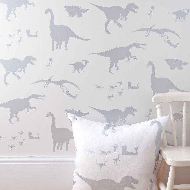 D'ya-think-e-saurus boys dinosaur wallpaper white with cushion and chair