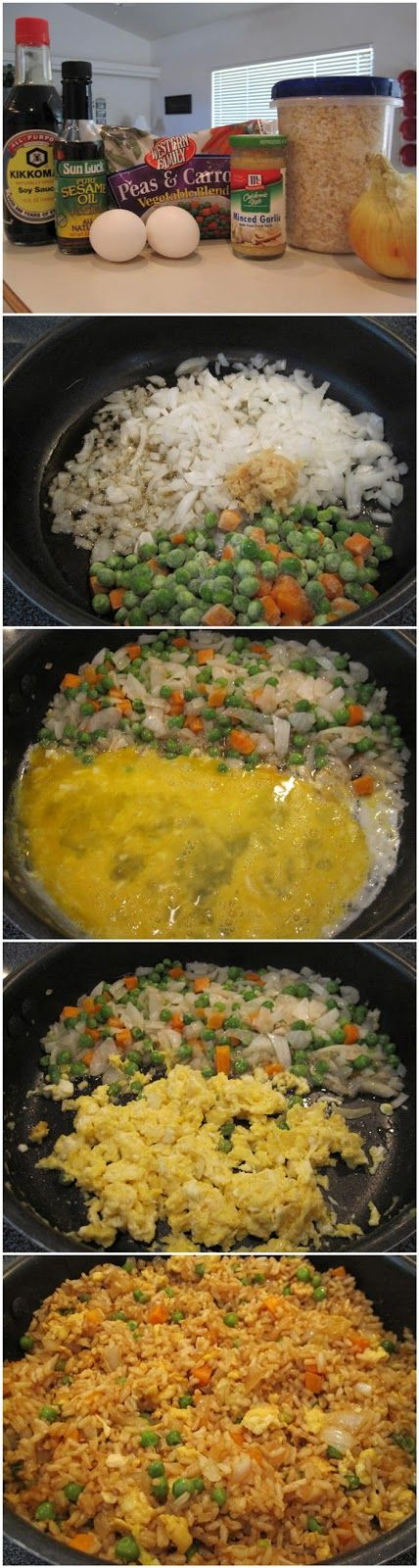 3 cups cooked white rice (day old or leftover rice works best!) 3 tbs sesame oil 1 cup frozen peas and carrots (thawed) 1 small onion, chopped 2 tsp minced garlic 2 eggs, slightly beaten 1/4 cup soy sauce