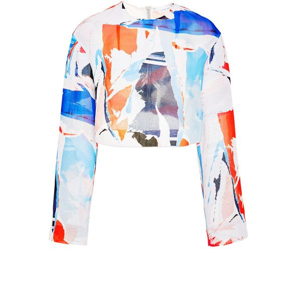 Dion Lee Collage Long Sleeve Shell ($655) ❤ liked on Polyvore featuring tops, shell crop top, dion lee, white shell top, crop top and crew neck top