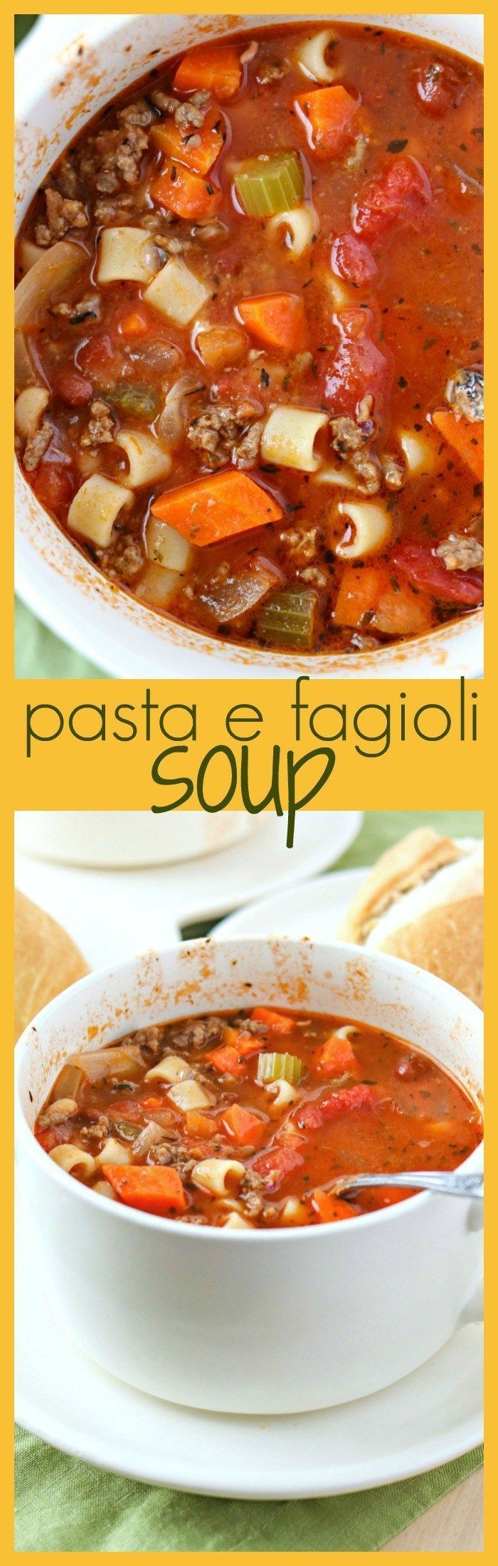 Pasta e Fagioli Soup - A classic Italian soup that is made with a tomato broth, ground beef, pasta, and packed-full of veggies and beans. All of these ingredients transform this into an irresistible dish that is so comforting and warms the heart. And stom