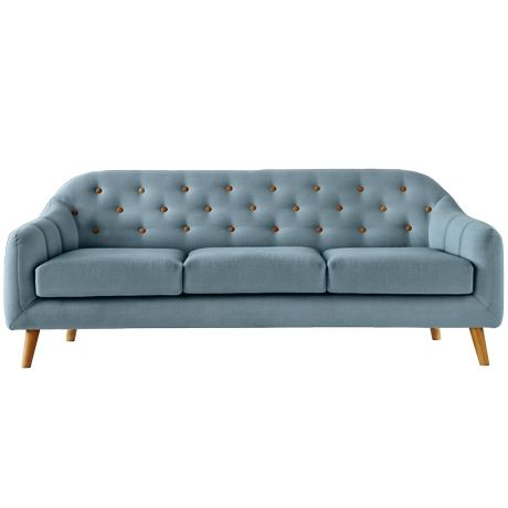 Button 3 Seat Sofa Ludo Light Blue