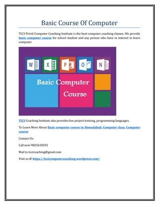 Basic course of computer