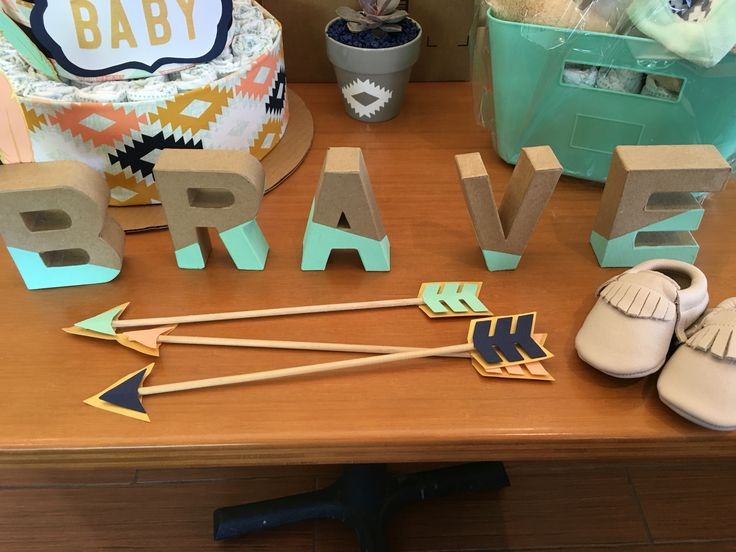 "Letters/arrows decoration for ""Be brave little one"" Tribal/boho/Indian gender neutral baby baby shower"