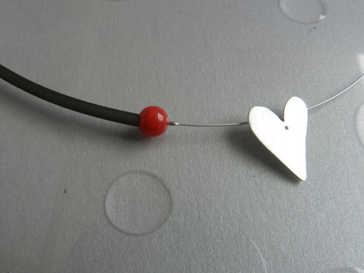 Silver heart necklace. Minimal necklace rubber and coral: A minimal gift, a unique love gift!