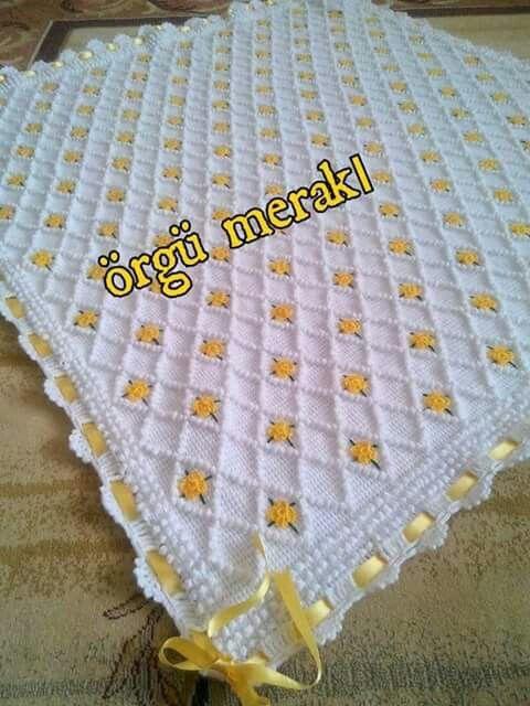 Tunus işi bebek battaniyesi