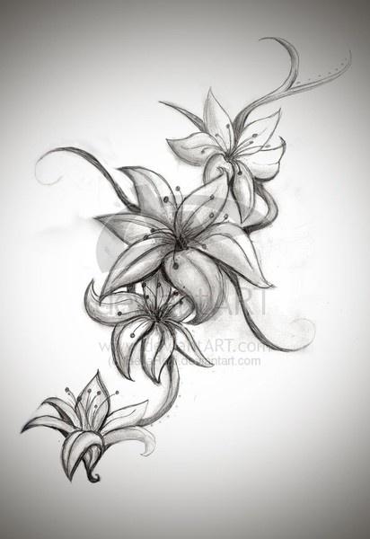 Free Flower Tattoo Designs Tatts Tattoos Flower Tattoos Lily