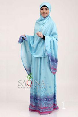 Mukena Ayu warna biru. Bahan Katun Rayon Twill. Rp. 234.900