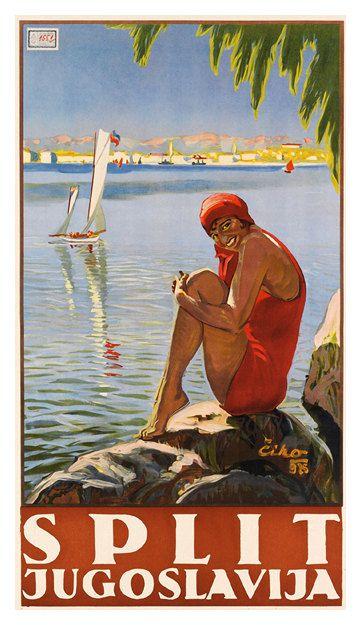 Split Jugoslavija Vintage Travel Poster Poster Paper by WallArty