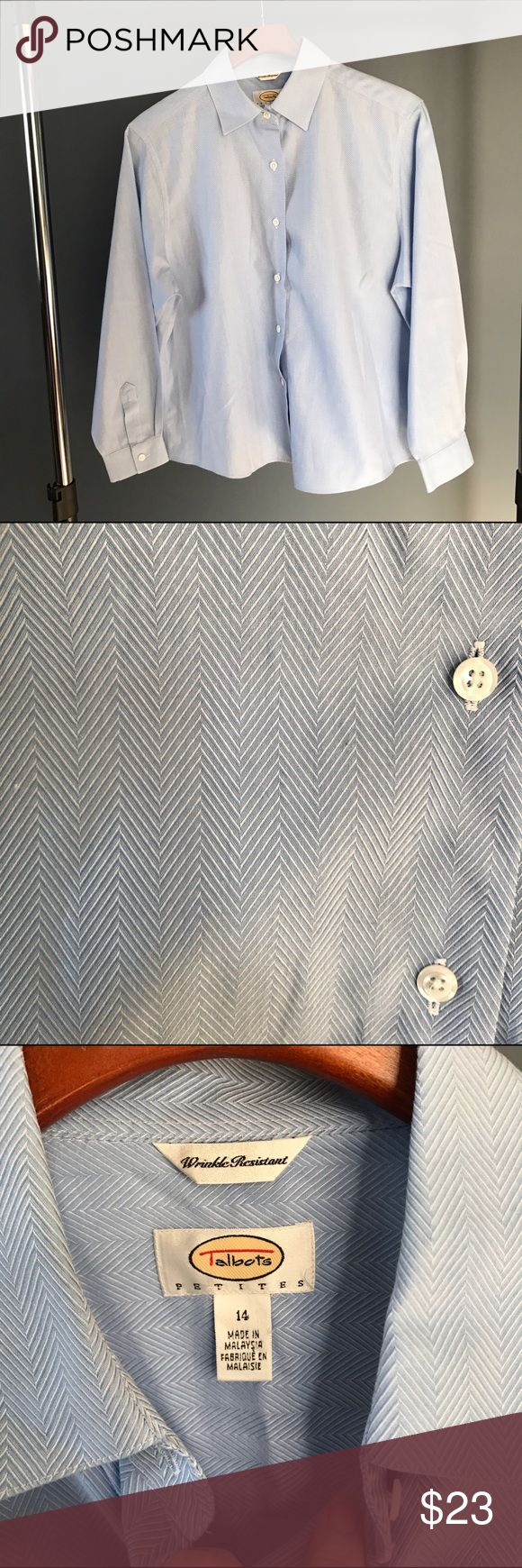Talbots 14petite blue button down shirt Talbots size 14 Petite button down in blue. Has a nice herringbone type design shown in 2nd pic. Tag says wrinkle resistant-this has been folded in a storage bin for the summer. It usually needs a little pressing when it comes out of dryer but doesn't have those hard to get rid of wrinkles. Faster getting out of house!! Very good condition, no stains. 22 in from underarm to underarm laying flat, 25.75 in from bottom of collar to back bottom hem, 22 in…