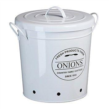 Briscoes - Farm Onion Storage Bin With Handle Round White Medium