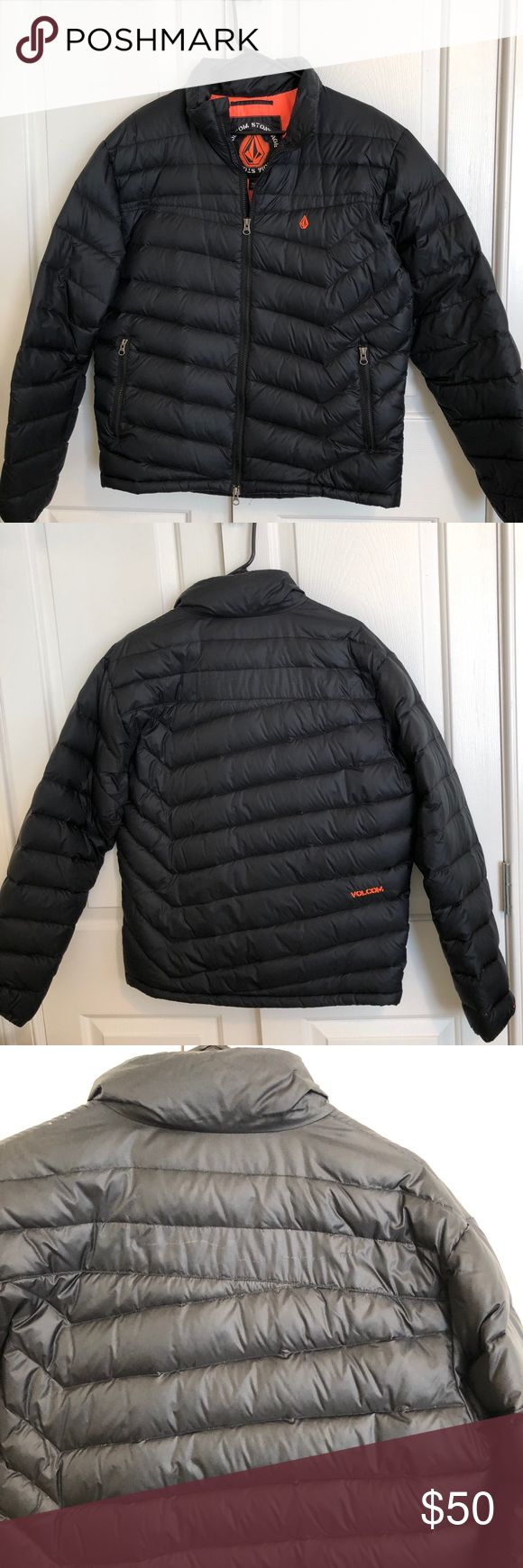 Volvo's Puffy Jacket Black puffy down jacket. Orange lining.  See image for materials.  Only worn and few times, and in almost new condition other than a small scratch on the back (from another metal hanger). It's actually not as noticeable as it looks like in the photo. Great time of year for this warm jacket and such a great price and will take offers! Volcom Jackets & Coats Puffers