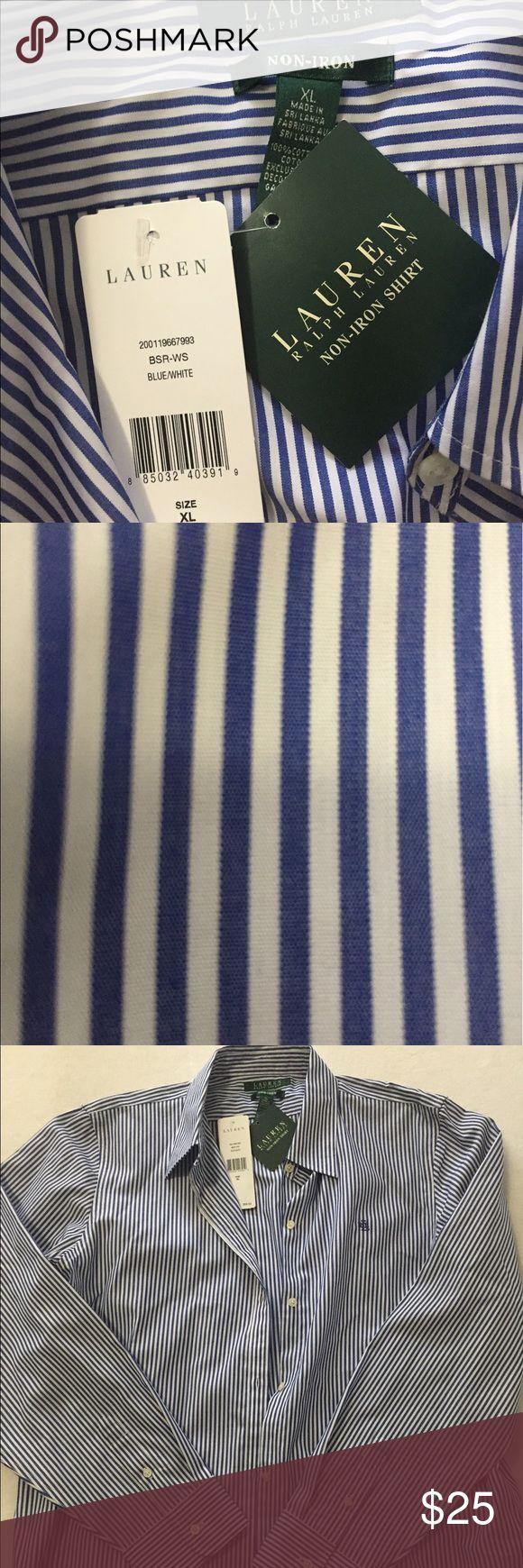 Ralph Lauren non-iron extra large women's shirt Ralph Lauren  Pinstripe blue and white non-iron women's extra-large Ralph Lauren Tops Button Down Shirts