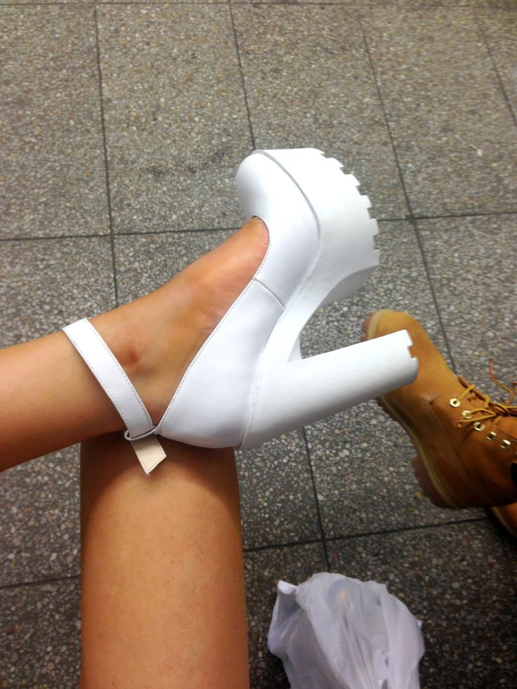 Windsor Smith // White chunky cleated sole platform heels with ankle strap.