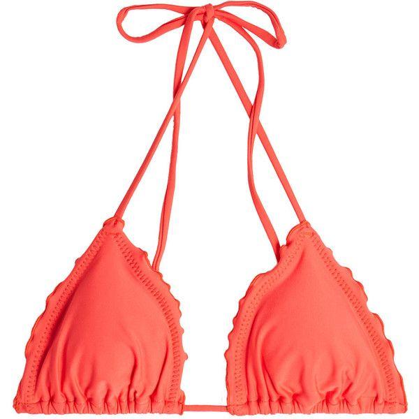 Luli Fama Wavey Triangle Bikini Top ($89) via Polyvore featuring swimwear, bikinis, bikini tops, red, triangle bikini top, coral bikini, beach wear, red swimwear and tankini tops