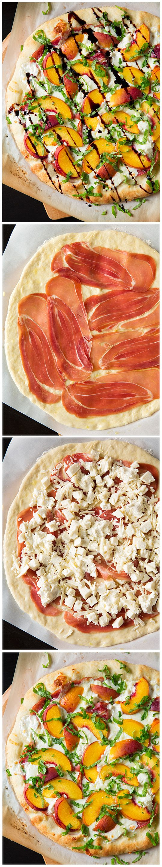 Three Cheese Peach and Prosciutto Pizza with Basil and Honey Balsamic Reduction - it's AMAZING!! A summer must try pizza for sure!