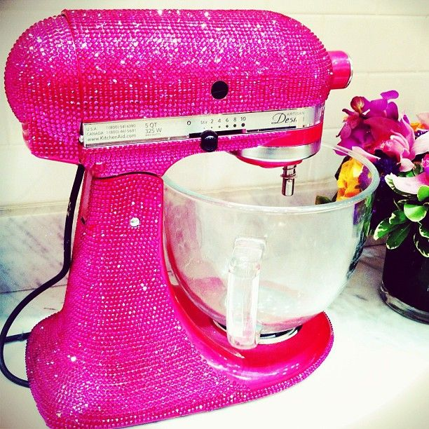 Pink and Sparkly!Appliances, Dreams, Kitchens Aid Mixer, Kitchenaid, Pink Kitchens, Hot Pink, Swarovski Crystals, Baking, Pink Glitter