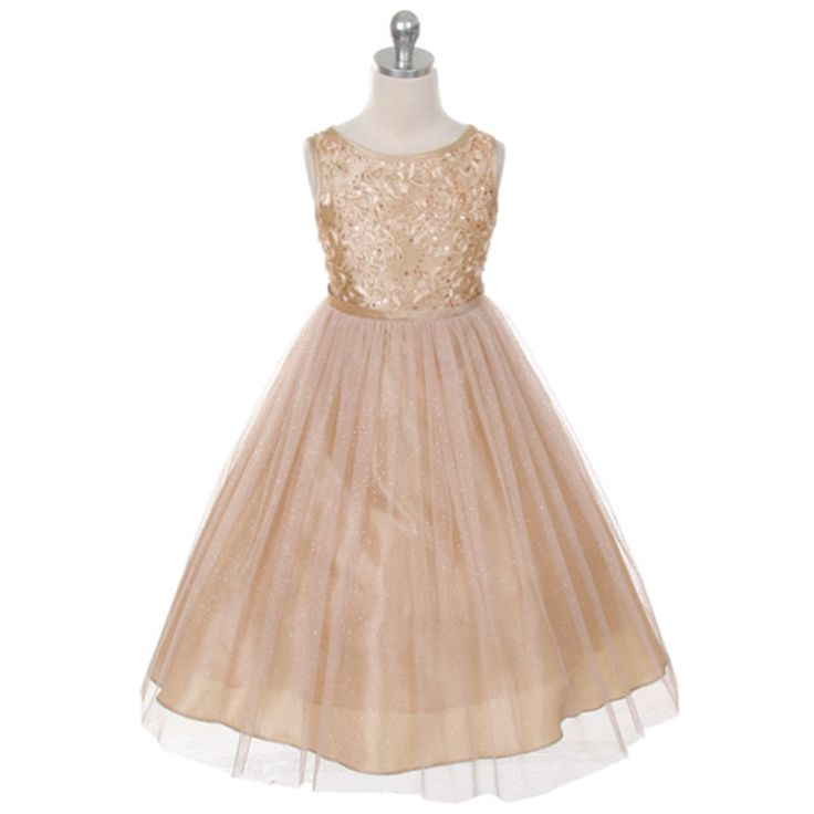 explore champagne flower girl dresses