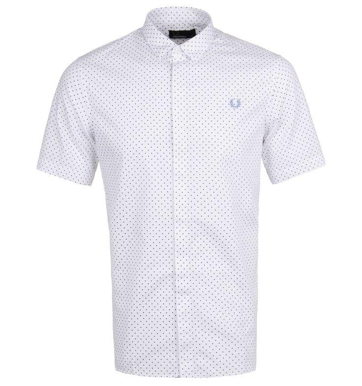 Fred Perry White Polka Dot Jacquard Short Sleeve Shirt