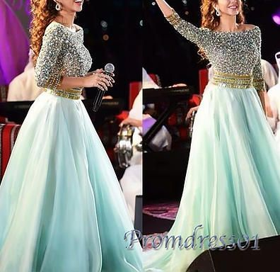 Modest prom dress, ball gown, beaded blue chiffon poofy evening dress for 2016 #coniefox #2016prom