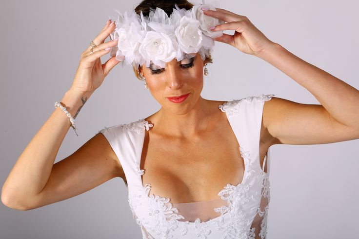 Bridal headpiece worn with Monet Wedding Gown. To view more beautiful veils and headpieces to complement your perfect dress, please visit http://lddesigner.com/collections/accessories/ #LeonardDerecourt #BridalVeil #BridalHeadpiece #BridalUpdo #BridalHair #WeddingVeil