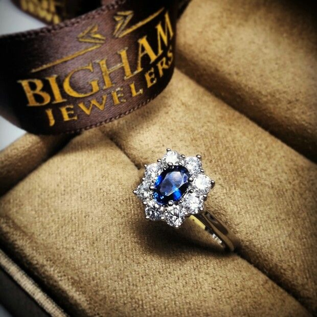 cute beautiful lady di and princess kate inspired wedding ring featuring a sapphire surround by diamonds - Princess Kate Wedding Ring
