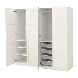 """PAX Wardrobe, white, Bergsbo white - soft closing hinge - 78 3/4x23 5/8x79 1/4 """" - IKEA"""