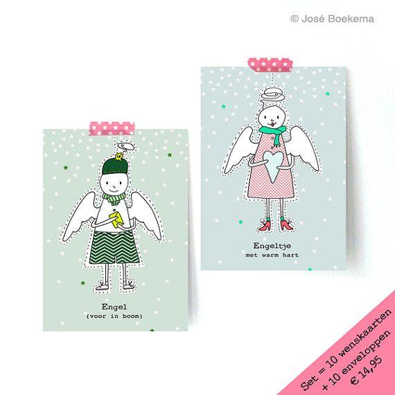 Kerstkaarten  - Ontwerp Engel met warm hart - kerstwens - persoonlijke kaarten - Jose Boekema