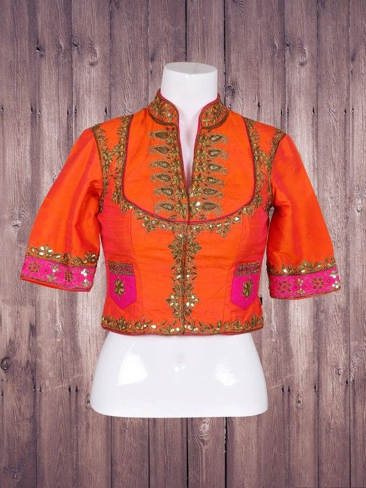 Silk Orange Wonderful Ready Made Blouse