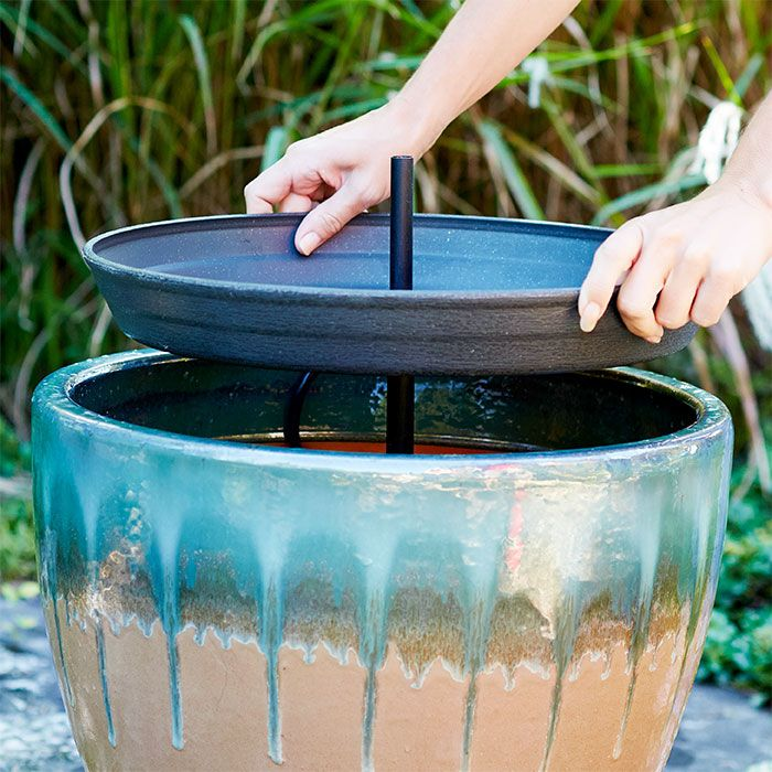 install the plastic saucer on the fountain garden fountains pinterest wasserspiele. Black Bedroom Furniture Sets. Home Design Ideas