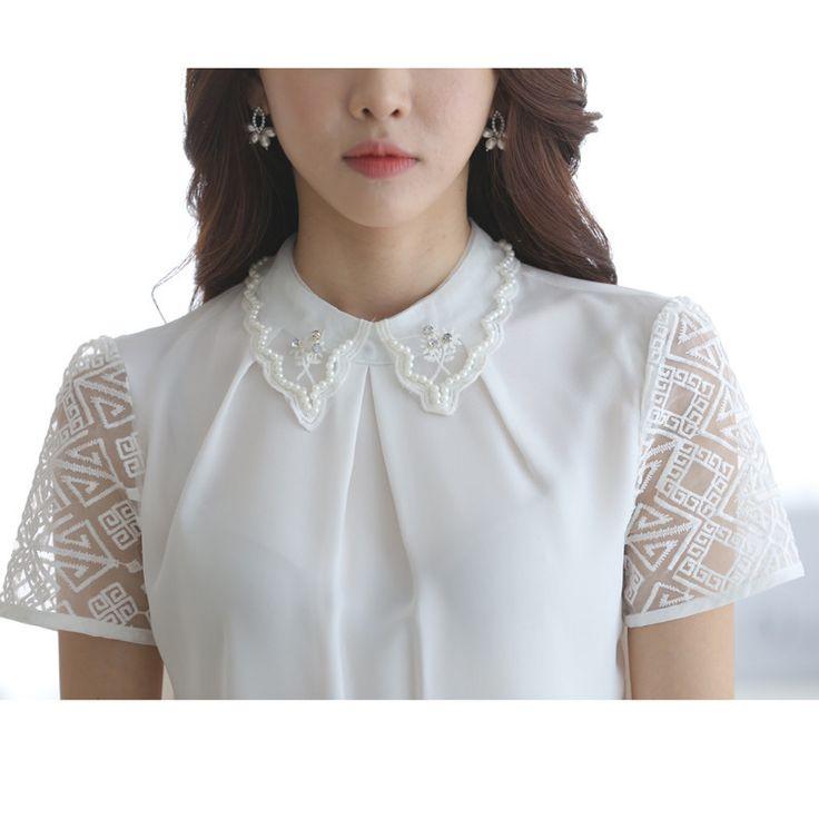 Aliexpress.com: Compre Verão coreano estilo Chiffon blusa mulheres Tops Organza de manga curta elegante Beading solto roupas de confiança roupa de caça fornecedores em Stylish