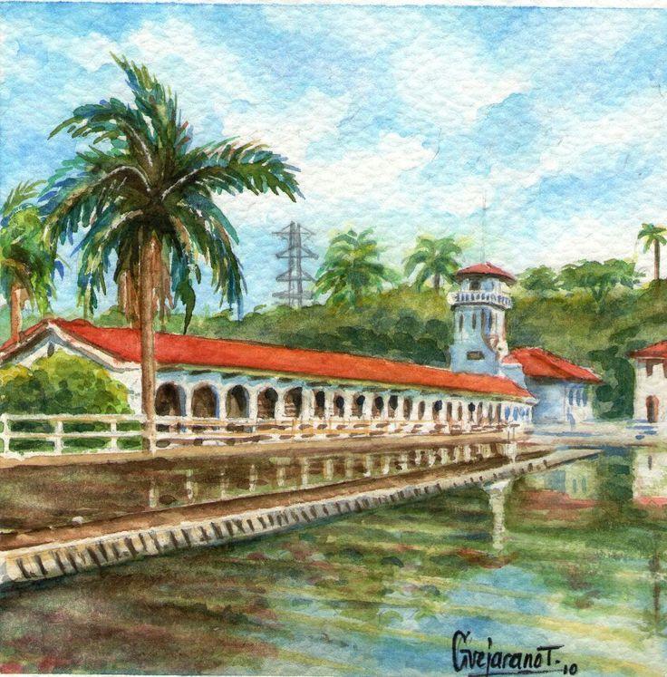 Acueducto San Antonio - Serie Cali Bella. Acuarela ~ Gerardo Vejarano T.
